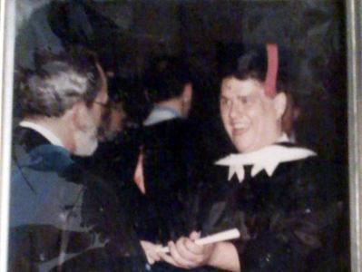 Bill Bauer at 1986 Livingston College graduation